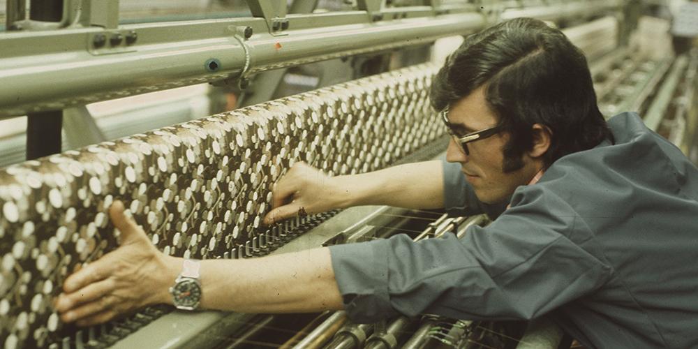 Über die Hälfte der Thurgauerinnen und Thurgauer arbeiteten bis in die 1970-er Jahre in der Industrie (Aufnahme von 1974). Bildnachweis: ETH-Bibliothek Zürich, Bildarchiv / Fotograf: Krebs, Hans